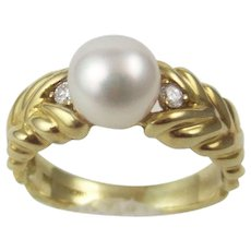 Mikimoto Cultured Pearl 750 18k Yellow Gold Ring Sz 9.5