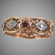 Art Deco 14K Filigree Rose Gold Band Size 9.5