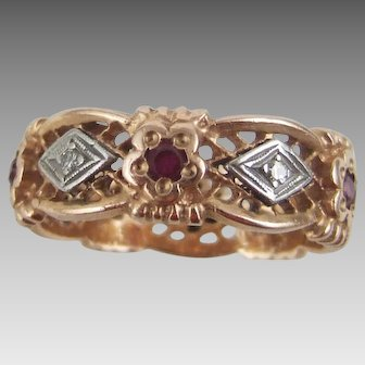 Art Deco 14K Filigree Rose Gold Band Size 9.5