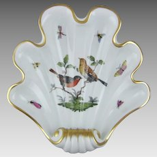 Herend Hand Painted Porcelain Rothschild Bird Shell Dish