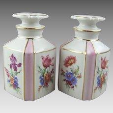 Dresden Flowers Porcelain Perfume Bottle Vanity Bottle Pair