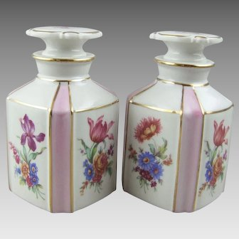 Dresden Flowers Porcelain Perfume Bottle Vanity Bottle Pair