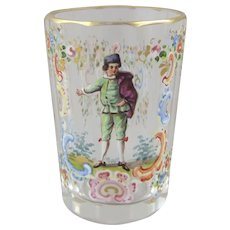 Lobmeyr Rococo Enameled Liqueur Shot Glass 1.87 Inches Tall