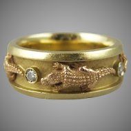 18k Yellow Gold and Rose Gold & Diamond Alligator Band Ring 6.5