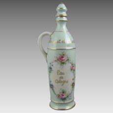 """Limoges Hand Painted Porcelain 10.5"""" Cologne Bottle"""