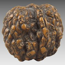 Chinese Hediao Relief Carved Walnut Lohan Immortals Monks