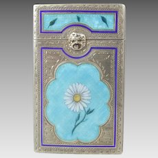 800 Silver & Enamel Cigarette Box