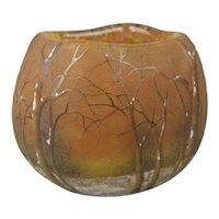 Daum Nancy France Cameo Glass Winter Scene Vase