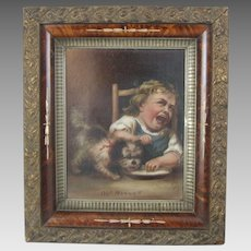 Victorian Painting of an Angry Toddler -  Puppy Eating His Porridge!