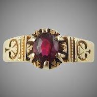 Victorian 18k Yellow Gold Rubellite Tourmaline Ring Circa 1883