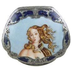 "Sterling Silver and Enamel Compact ""The Birth of Venus"""