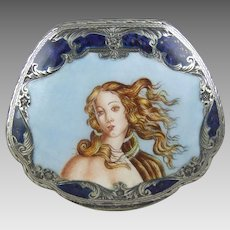 """Sterling Silver and Enamel Compact """"The Birth of Venus"""""""