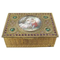 Antique French Gilt Metal Inlaid Enamel and Guilloche & Glass Jewel Box