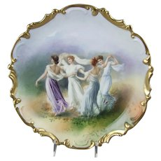 Limoges Porcelain Wall Charger Plate Classical Maidens Dancing
