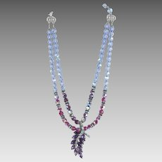 Hobe Pendant Necklace Faceted Aurora Borealis Crystal Beads