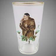 Bohemian Glass Enameled Beaker Tumbler with Monk