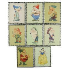 Original Circa 1938 Walt Disney Entertainment Snow White and the Seven Dwarfs Color 8 Print Set