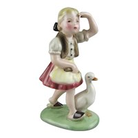 Wein Keramos Austria Ceramic Figure of The Goose Girl Stefan Dakon  Designer