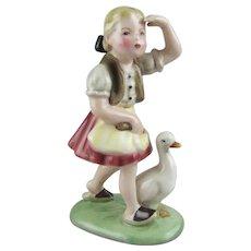 Wein Keramos Austria Ceramic Figure of The Goose Girl Stefan Dakon  Designer