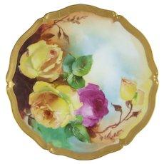 T & V Tressemanes & Vogt Limoges Hand Painted Porcelain Plate Artist         F. Wiede
