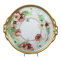 Limoges Hand Painted Porcelain Handled Tray Poppy Flowers