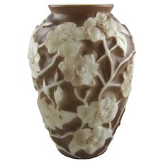 Phoenix Sculptured Artware Wild Rose Sculptured Cameo Glass Vase