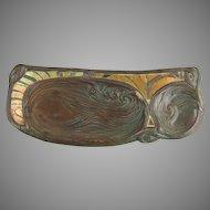 Tiffany Studios Patinated Bronze and Tiffany Favrile Glass Mosaic Swirl Pattern Pen Tray