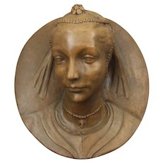 Florentine Terracotta Ceramic Wall Plaque of the Renaissance Noblewoman Marietta Strozzi