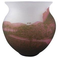 Arsall Deco Period Three Color Cameo Glass Vase Vereinigte Lausitzer Glaswerke