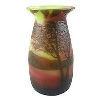 French Cameo Glass Vase J. Michel Paris C1925