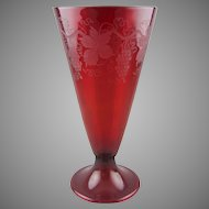 Steuben 6034 Vase in Selenium Red with Etched Grapevine