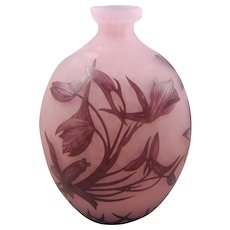 Andre Delatte French Art Deco Cameo Glass Vase with Bird of Paradise Flowers