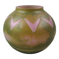 Daum Nancy Acid & Wheel Cut Art Deco Cameo Glass Vase