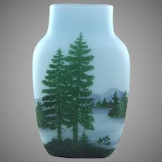 Lamartine Acid Cut and Enameled Scenic French Cameo Glass Vase