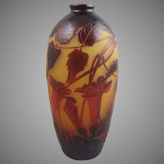 D'Argental Cameo Glass Vase with Red Morning Glories