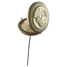 Hatpin Vanity Compact Hat Pin Joan of Arc Combination Hatpin & Compact