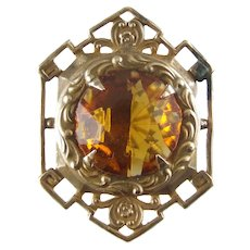 Antique Hatpin - Stamped Gilt Brass and Glass Citrine Hat Pin