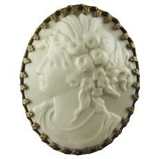Hatpin - Antique Victorian Faux Ivory Hat Pin with Celluloid Cameo
