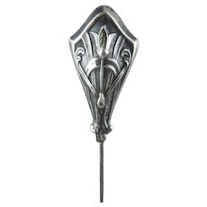 Hatpin - Edwardian Arts & Crafts Puffy Sterling Silver Hat Pin
