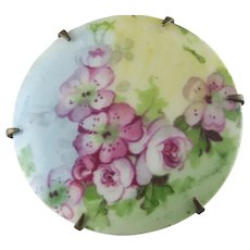 Hatpin – Hand Painted Porcelain Roses Hat Pin