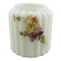Mt. Washington White Opaque Ribbed Glass Toothpick Holder