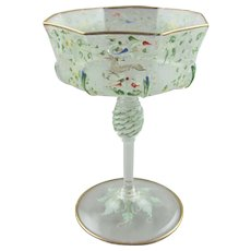 Moser Enamel Decorated C1900 Salviati Glass Goblet Champagne Wine - Canine & Foliate Pattern