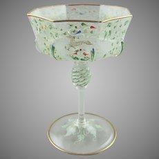 Moser Enamel Decorated C1900 Salviati Glass Goblet Champagne Wine - Canine & Foliate Pattern