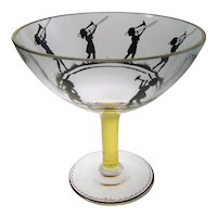 Bohemian Enameled Glass Compote Friedrich Pietsch Glass School Steinschönau  Bohemia C1915