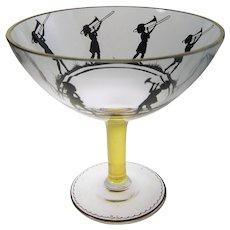 Bohemian Enameled Glass Compote Friedrich Pietsch Glass School Steinschönau  Bohemia C1915