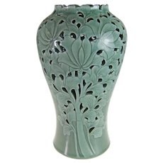 Celadon Ceramic Glaze Carved and Floral Decorated Vase