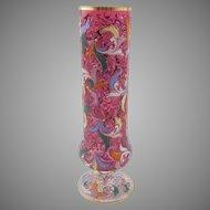 Moser Bohemian Ruby Glass Enamel Decorated Pedestal Vase