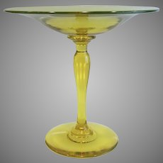 Pairpoint Canary Yellow A294 Compote Vaseline Uranium Glass