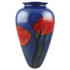 Richard Satava Art Glass Vase Red Poppies on Blue Ground