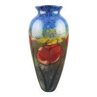 Richard Satava Art Glass Vase California Poppies on Meadow